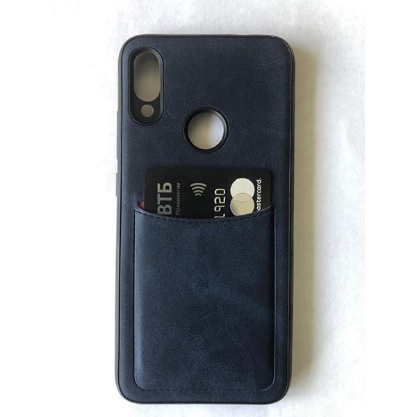 Чехол бампер с кармашком для Redmi Note 7 синий